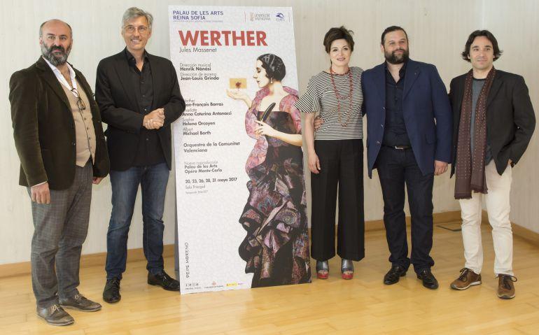 De izquierda a derecha: Davide Livermore, Jean-Louis Grinda, Anna Caterina Antonacci, Jean-François Borras y Henrik Nánási
