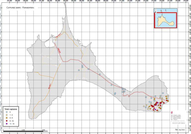 Mapa de capturas de serpientes en Formentera