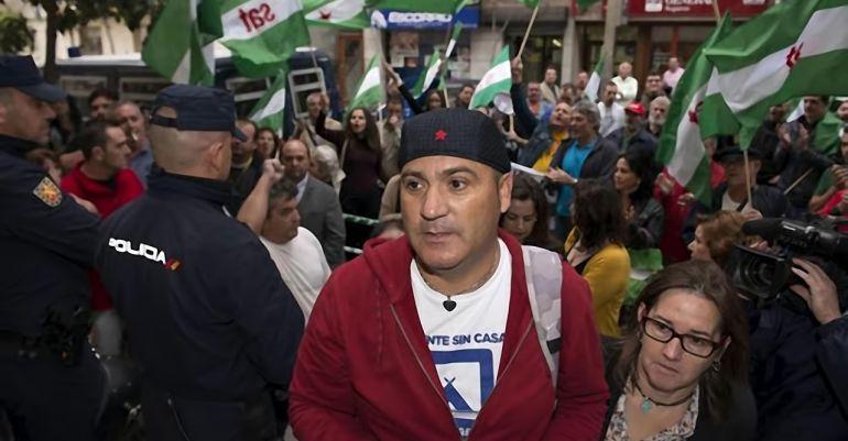 Andrés Bódalo durante una protesta días antes de su entrada en prisión.