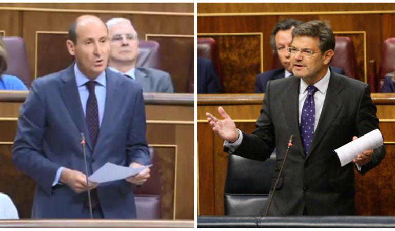Sahuquillo (i) y Catalá (d) durante la sesión de control al gobierno este miércoles