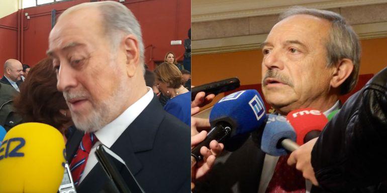 Gabino de Lorenzo, delegado del Gobierno en Asturias y Wenceslao López, alcalde de Oviedo, realizando declaraciones.