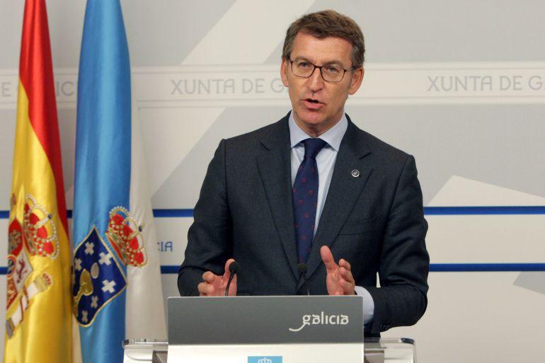 El presidente de la Xunta, Alberto Núñez Feijoo, en rueda de prensa