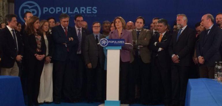 María Dolores de Cospedal, respaldada por sus compañeros de partido en Castilla-La Mancha
