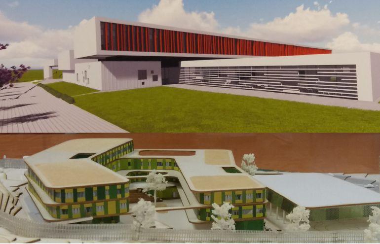Arriba infografía del IES La Florida, debajo IES La Corredoria II, que se construirán en Oviedo.