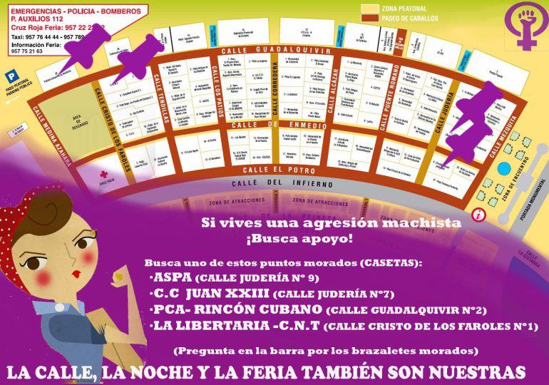 Iniciativa 'pañuelos morados' en la feria de Córdoba.