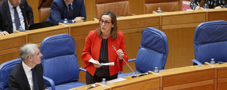Ethel Vázquez, en el Parlamento de Galicia