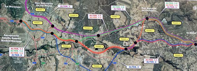 Plano de la propuesta de Fomento para la variante de la A-1