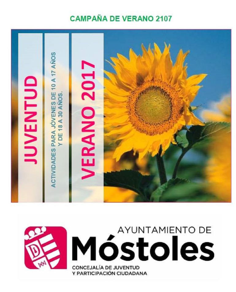 Campaña de verano 2017 con actividades dirigidas a la infancia y juventud de Móstoles