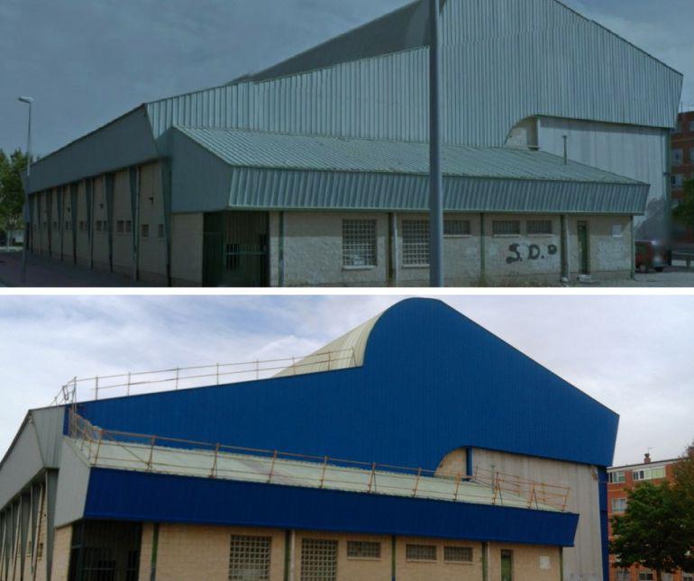 Polideportivo Chelva antes y después de las modificaciones