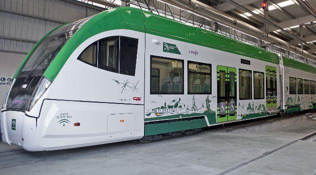 Imagen del tren tranvía en las cocheras