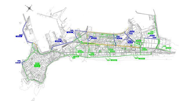 Mapa del carril bici de Cádiz