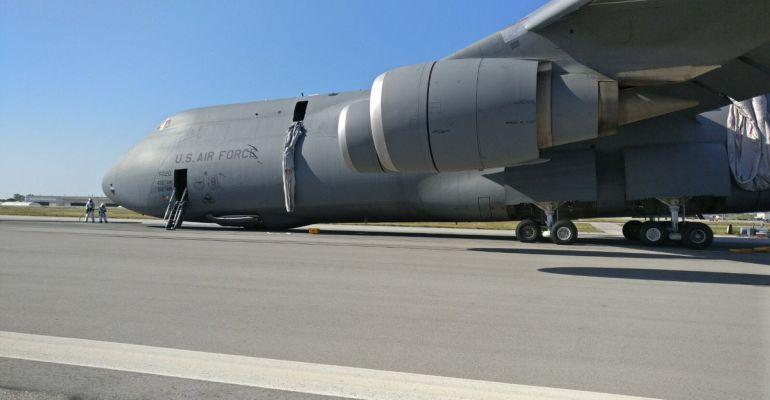 El avión sinestrado ayer en la base de Rota