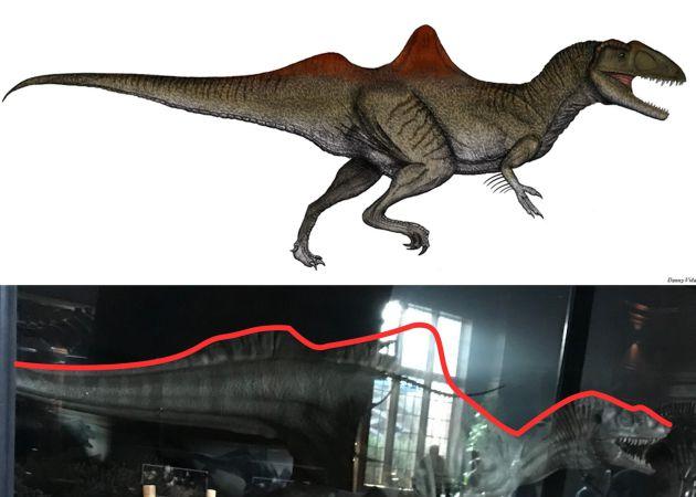 Arriba el perfil de 'Concavenator'; abajo uno de los dinosaurios de la película 'Jurassic World 2'.
