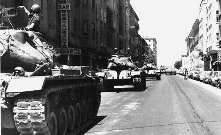 Desfile de las Fuerzas Armadas por la avenida de la República Argentina.