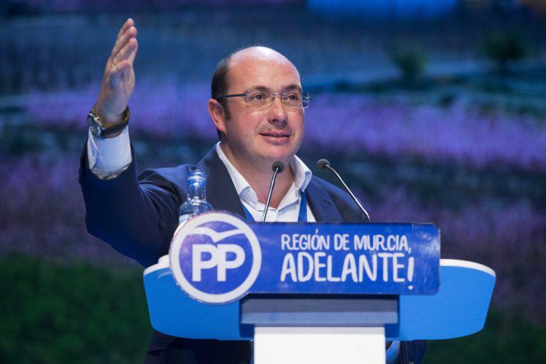 Pedro Antonio Sánchez en el último congreso regional del PP en el que salió elegido como nuevo presidente, en sustitución de Ramón Luis Valcárcel