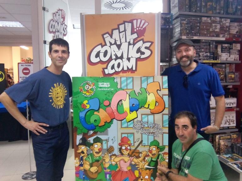 Roberto Malo, Daniel Tejero y Jesús Mesa en la presentación de la obra en la librería MilCómics
