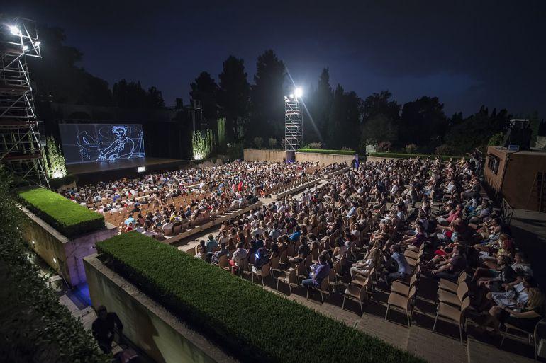 Teatro del Generalife en La Alhambra durante los espectáculos.