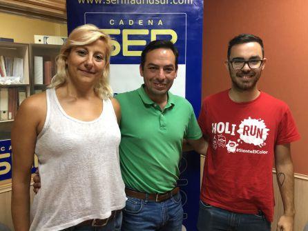Noemí Latorre (organizadora), José Manuel Zarzoso (concejal de Festejos de Parla) y Ben Hazel (dj)