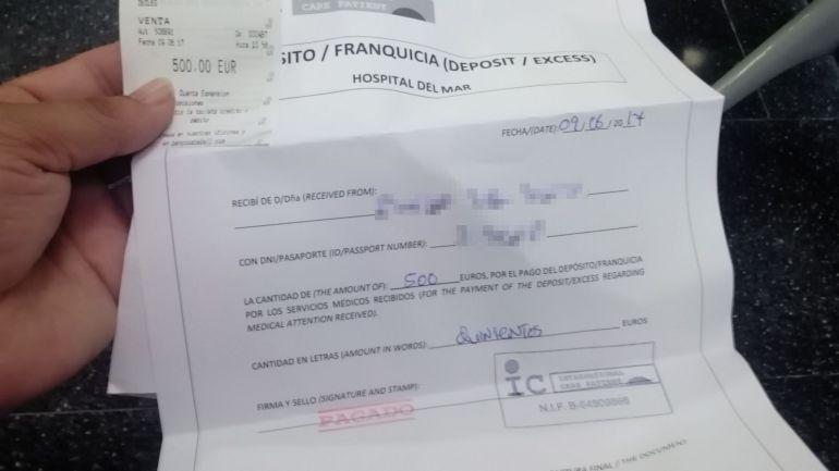 Una de les dues factures de 500 euros expedides per l'Hospital del Mar