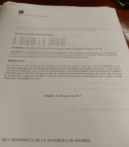 Respueta del Gobierno de Cifuentes a la petición de información de Ciudadanos