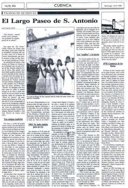 Artículo sobre las fiestas de San Antonio publicado en El Día de Cuenca el 16 de junio de 1991.