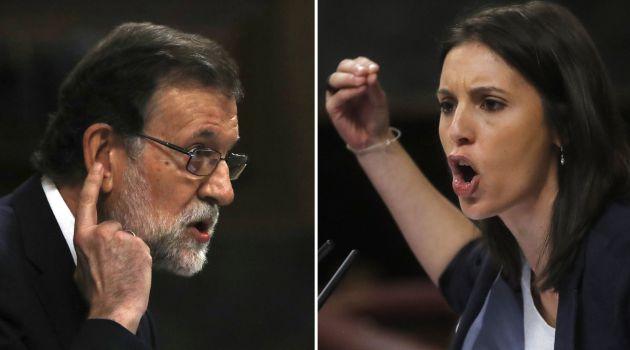 El presidente del Gobierno, Mariano Rajoy, y la portavoz de Unidos de Podemos, Irene Montero, durante sus respectivas intervenciones hoy en el Congreso de los Diputados, en el debate de la moción de censura del citado grupo parlamentario contra el jefe del Ejecutivo