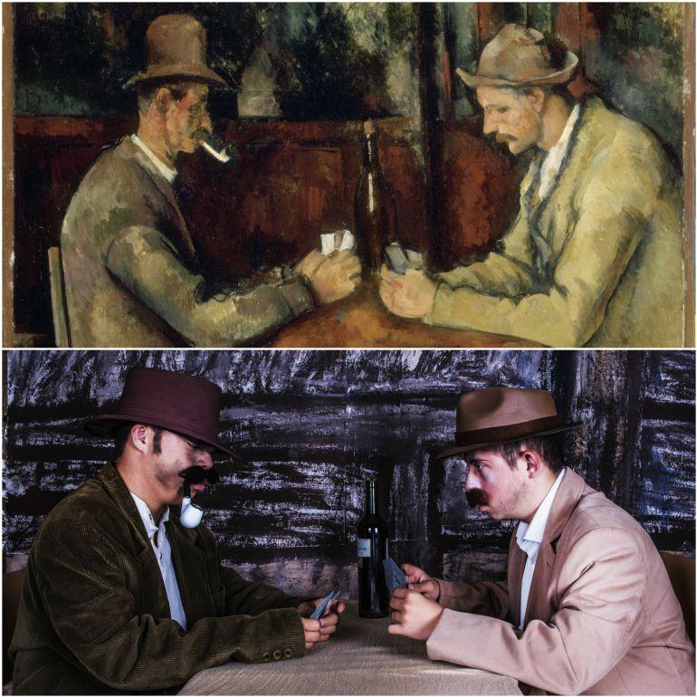 Los jugadores de cartas de Paul Cézanne con I. Martí y A. Moreno