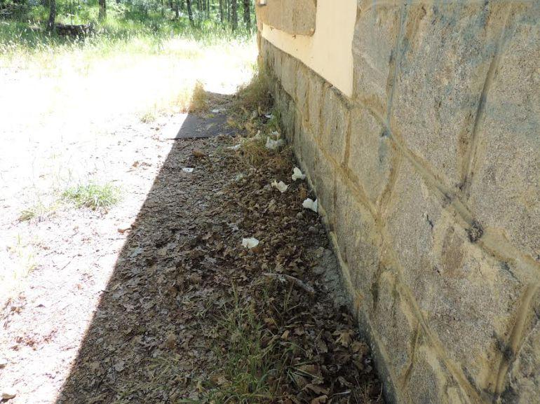 Excrementos y papeles alrededor de los aseos públicos de Costa LLagu