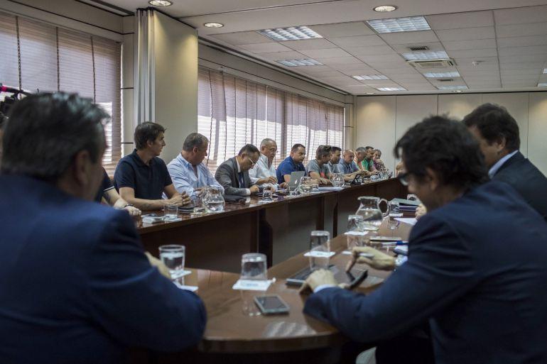 Vista general de la última reunión entre los sindicatos de estibadores y la patronal Anesco