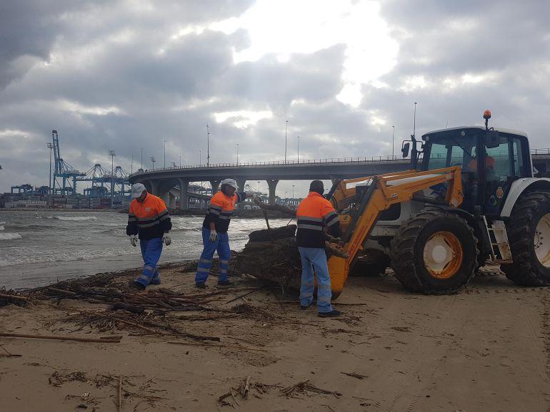 Empleados del servicio de mantenimiento de playas en Algeciras