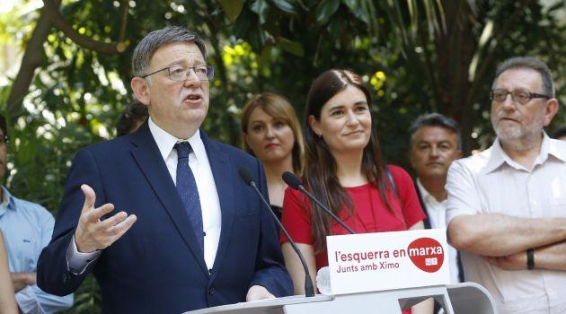 El secretario general del PSPV-PSOE y president de la Generalitat valenciana, Ximo Puig,iz., durante la presentación de su candidatura para revalidar su cargo al frente de los socialistas valencianos