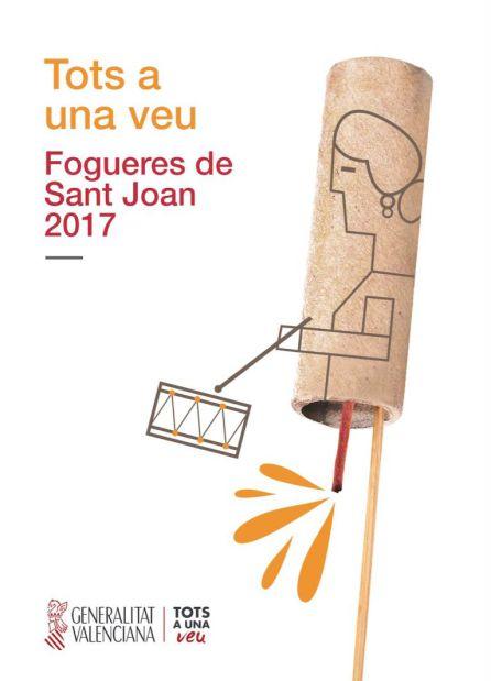 Cartel de Fogueres rediseñado por la Generalitat