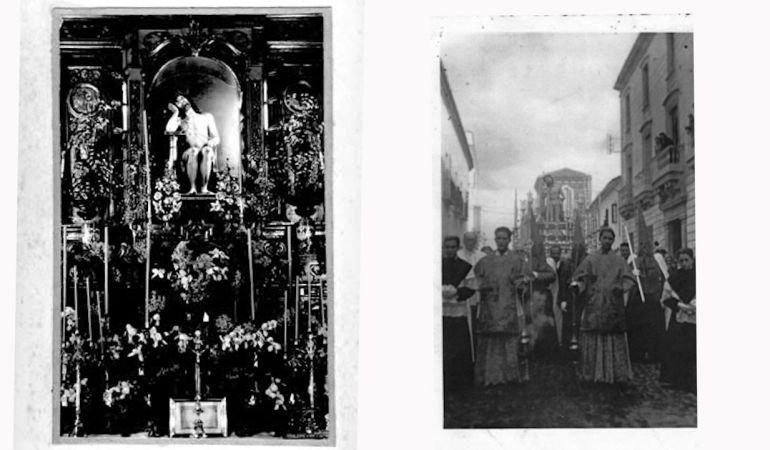 Imagen del Señor de la Paciencia de Andújar en su camarín y procesionando por las calles de la ciudad (principios del siglo XX)