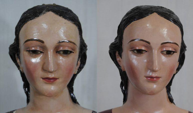 Antes y después de la restauración de Nuestra Señora del Rosario de Castilleja de Guzmán