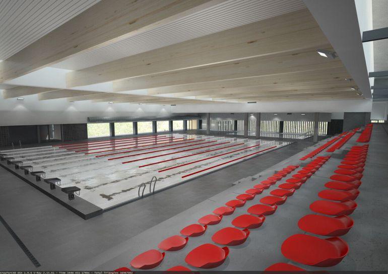 Imatge de l'interior de la nova piscina coberta de Tortosa.