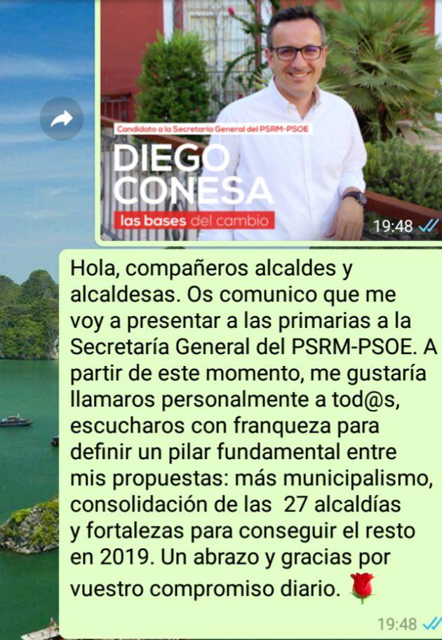 Diego Conesa anuncia su candidatura a las primarias del PSOE