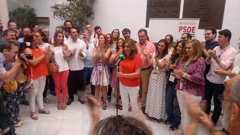 Díaz este sábado en la sede del PSOE andaluz en la calle San Vicente de Sevilla