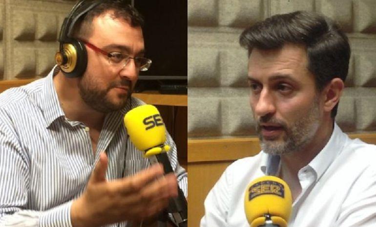 Adrián Barbón y José María Pérez en los estudios de Radio Asturias-SER