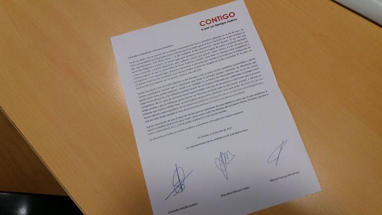 Carta enviada por los representantes de la candidatura de José María Pérez a los de la de Adrián Barbón, solicitándoles el debate entre ambos
