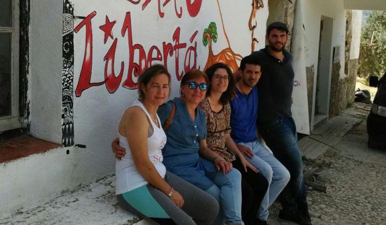MaríaMontávez (en primer plano) durante la ocupación de lafinca del BBVA