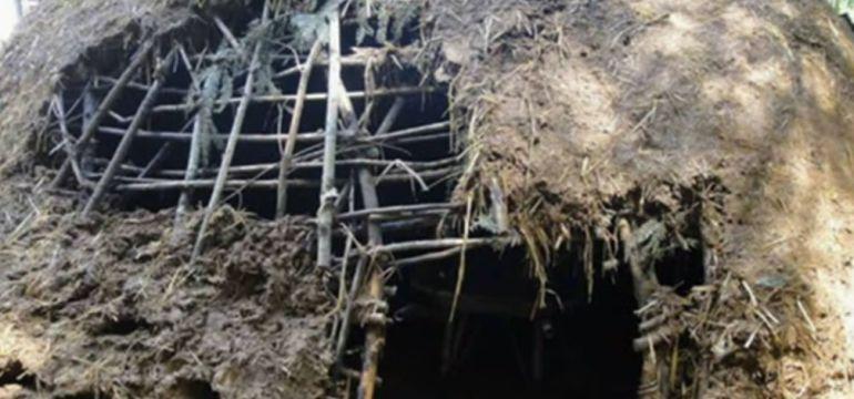 'Sauna iglú' que se  ha venido abajo en Letur (Albacete)