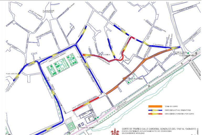 Plano del cambio de tráfico por las obras en Cardenal González.