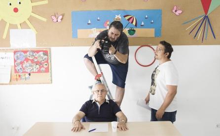 Momento de la preparación del rodaje del corto sobre AFA