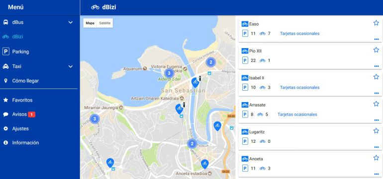 """Interfaz de la nueva aplicación """"Donostia Transport"""""""