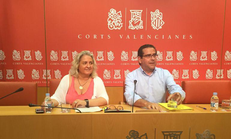 Los diputados Maria José Ferrer San-Segundo y Jorge Bellver en rueda de prensa
