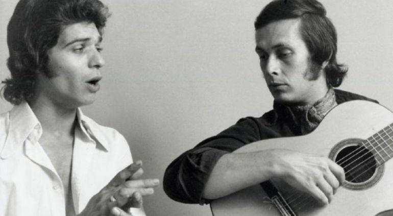 Camarón de la Isla y Paco de Lucía durante un ensayo de 'La leyenda del tiempo'.