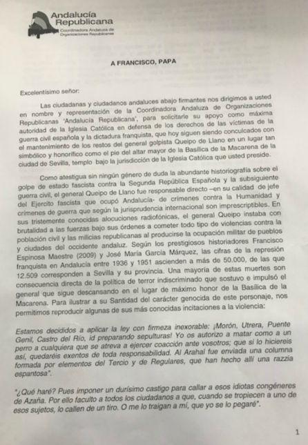 Llega hasta el Papa la reivindicación de exhumar la tumba de Queipo de Llano