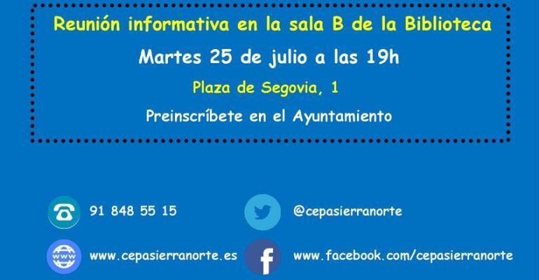 Cartel de la CEPA y el ayuntamiento de Bustarviejo convocando la reunión informativa