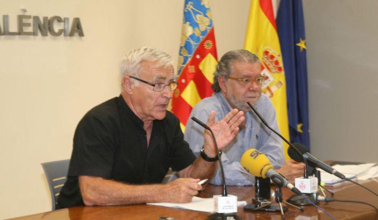 El alcalde de Valencia, Joan Ribó, junto al concejal de Hacienda, Ramon Vilar