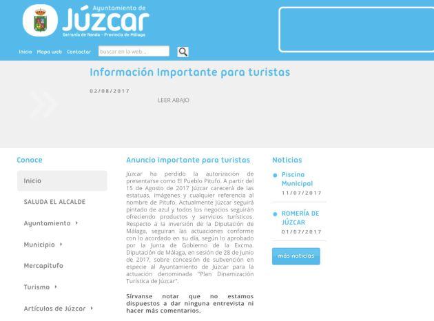 El anuncio en la misma web municipal de Júzcar (Málaga)